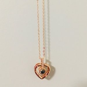 Michael Hill rose gold hanging diamond necklace